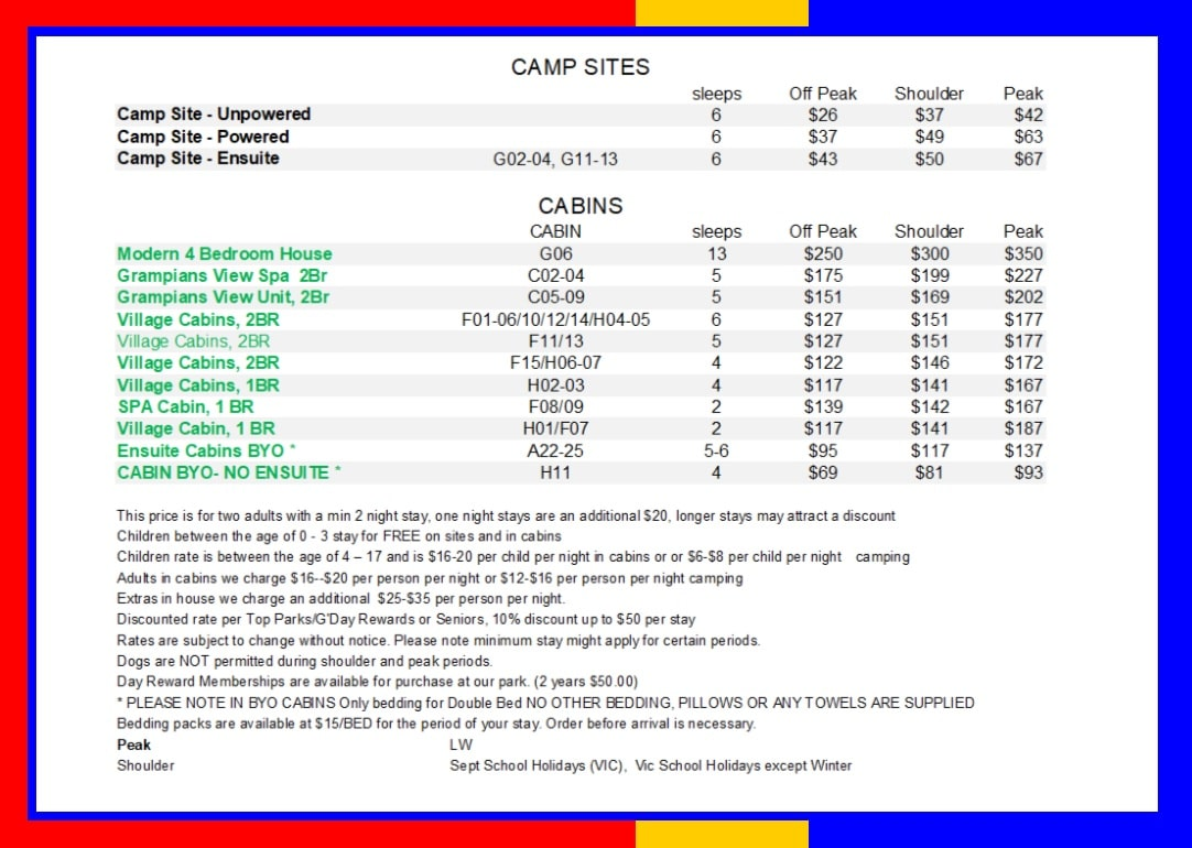 camp sites and cabins rates