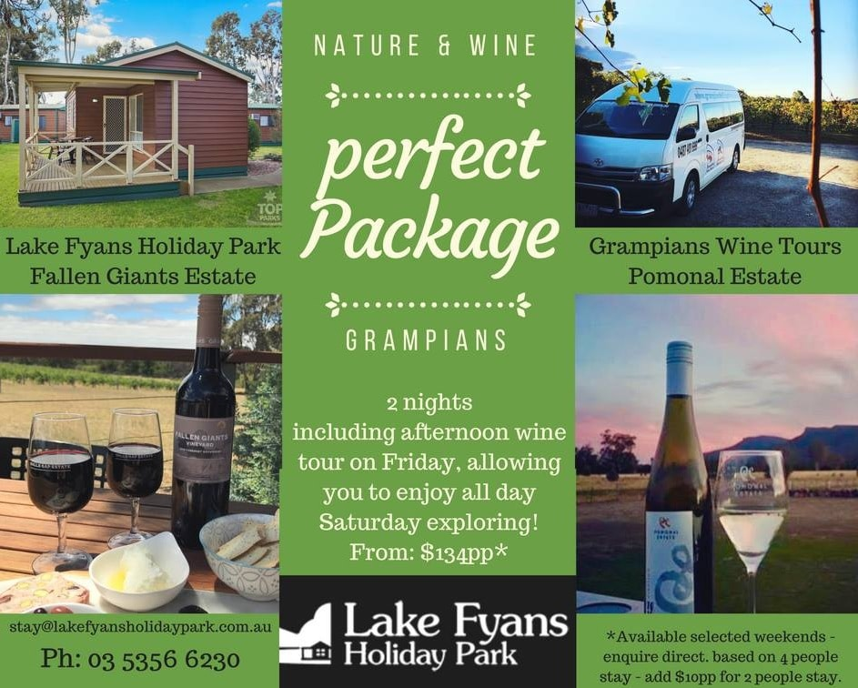 Lake Fyans Holiday Park nature and wine package